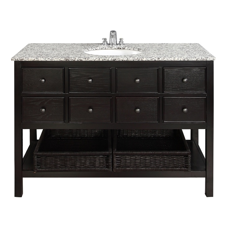 "$899.99 The Simple Home Burnaby 48"" Vanity is defined by its casual contemporary look. The collection comes includes grey granite marble tops and oval white vitreous china sinks."