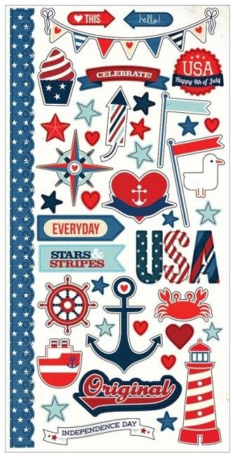 """Simple Stories - Simple Sets - Sea To Shining Sea Collection - 6""""x12"""" Cardstock Sticker Sheet - Fundamentals"""