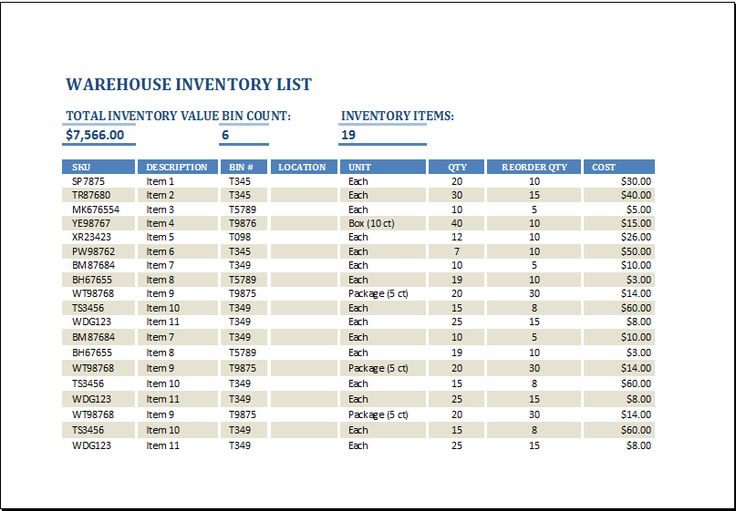 warehouse inventory template at    wwwxltemplatesorg - household inventory list template