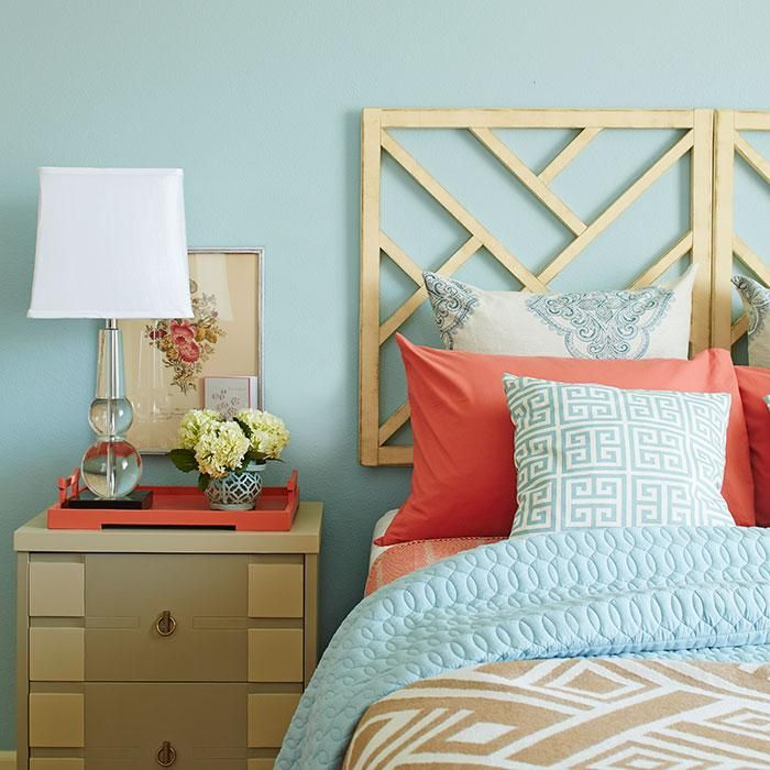 A boring boxy bedroom goes from pedestrian