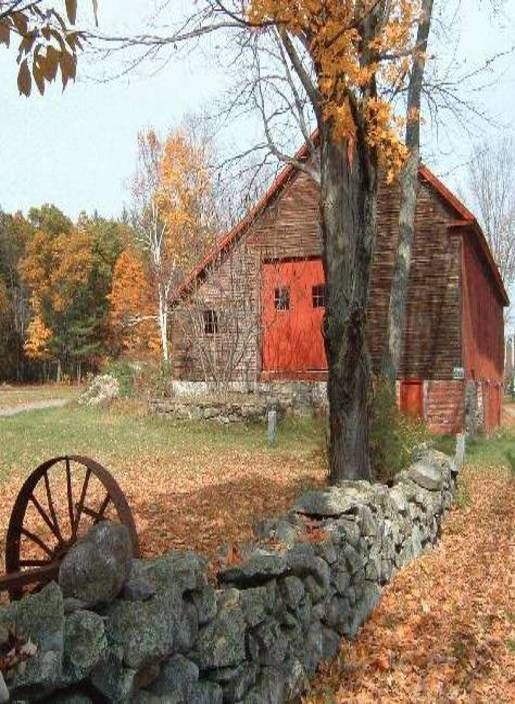 Barn, Stone Fence & Old Wheel!