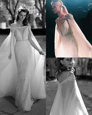 Новое белое/цвета слоновой кости прозрачный тюль бисер свадебный плащ длинный свадебный пиджак накидка