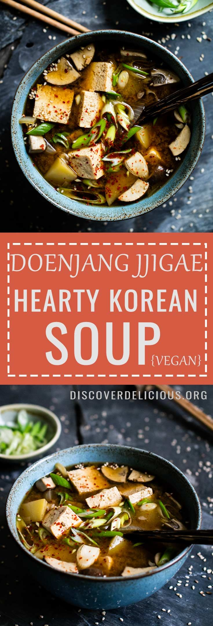 Doenjang Jjigae (hearty Korean soup). Popular Korean comfort food + vegan! Quick and easy to make.   Discover Delicious  www.discoverdelicious.org