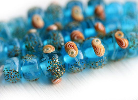 Aqua Blue Artisan lampwork beads Seashells Blue glass by MayaHoney #forsale #etsy #glass #handmade  #beaded #homemade #shopping #handcrafted #forgirl #jewelry #lampwork #fashion #mayahoney #jewelrymaking #making #beads #beach #seaglass #organic #blue