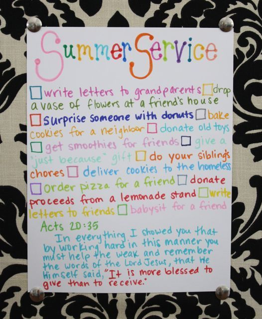 summer service list - teach the kids to serve others this summer. I love this!