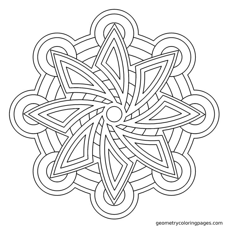blade flower ii geometry coloring page for kids and adults geometrycoloringpagescom