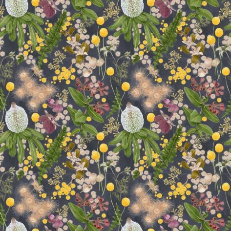 Vibrant yellow wattle, soft white flannel flower and gum nuts all make an appearance in the striking wallpaper, showcased on a canvas of midnight blue, aptly names 'Light Off'