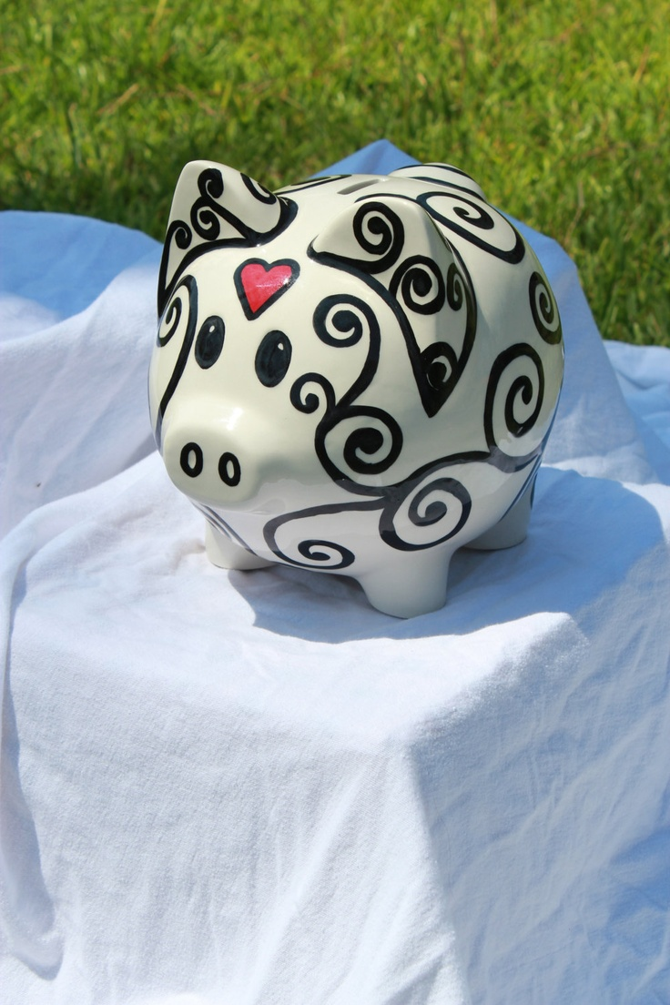 Piggy bank on the center of tables at grad party for grad money! Or in the center at a wedding! Maybe is the shape of a house instead!
