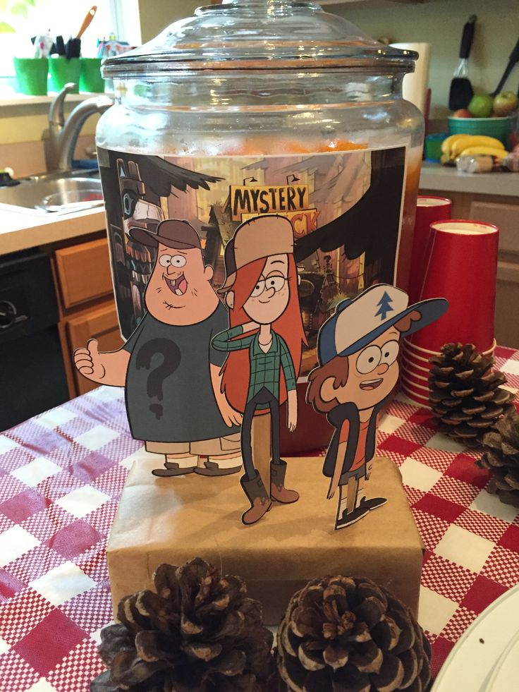 Gravity Falls birthday party table decorations.