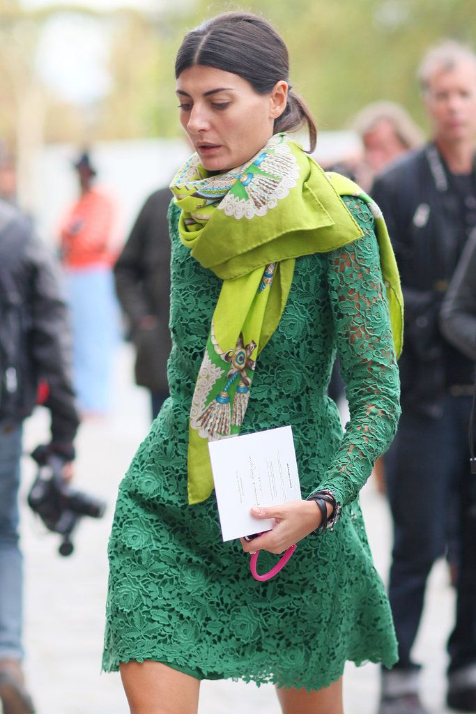Giovanna Battaglia kept it all in the color family with a lime-green scarf and kelly-green lace. PFW