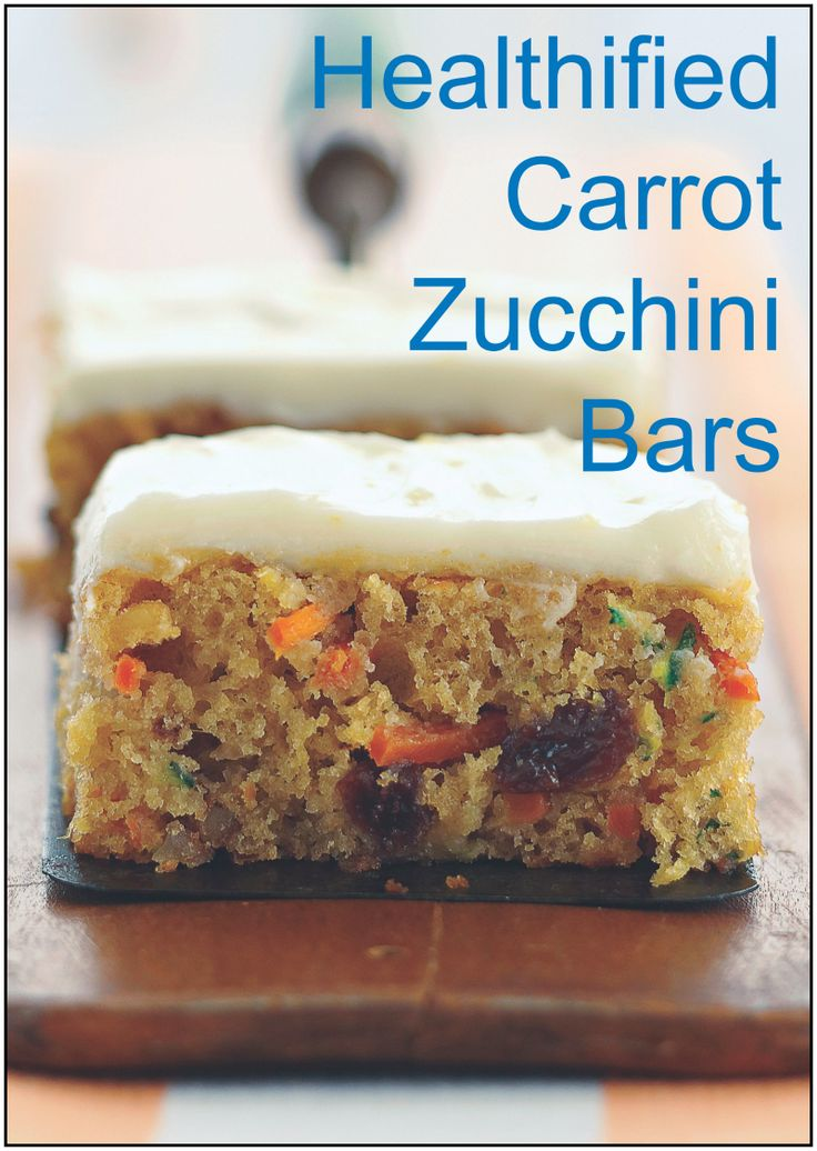 Healthified Carrot and Zucchini Bars–only 160 calories!