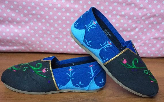 Frozen Anna Inspired Custom Painted Canvas Shoes by VanEllaBean77, $34.00