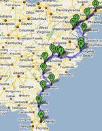 East coast road trip - Florida to New York 2009