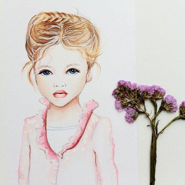 Рыженькая бэйбочка с голубыми глазами #арт #портрет #бэйба #девочка #дети #рисунок #art #prismacolor #portrait #baby #girl #demon #drawing #бэйбаколлекция