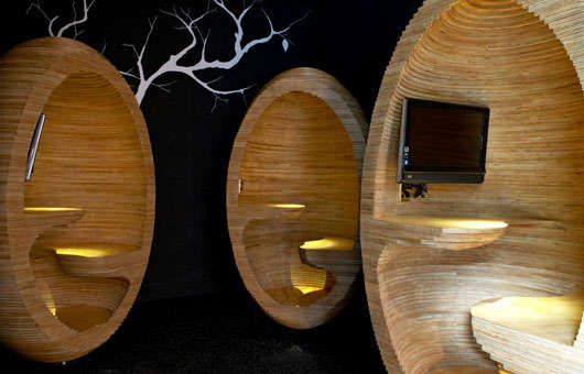 Wooden Egg Workspaces : Plywood Egg Chairs