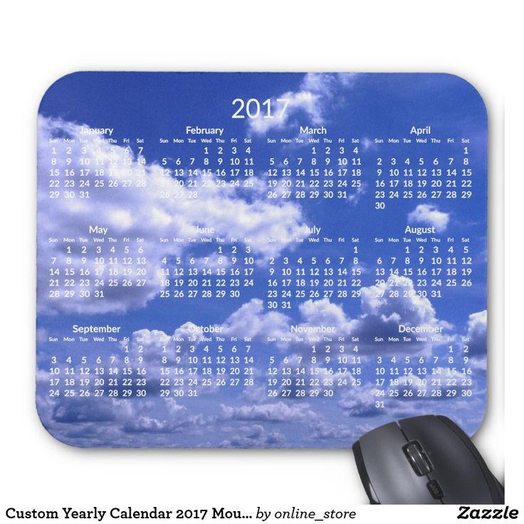 Custom Yearly Calendar 2017 Mouse Pads Clouds