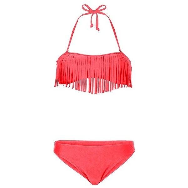 Fringed bandeau bikini ($36) ❤ liked on Polyvore featuring swimwear, bikinis, swimsuits, bandeau bikinis, bikini swimsuit, fringe halter bikini, halter swimsuit and swimsuits bikinis