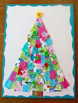 Beneath the Rowan Tree: Holiday Scrap Buster :: Scrappy Christmas Trees (Kid Friendly Craft!)