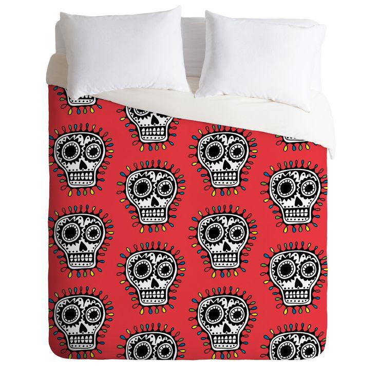 Andi Bird Sugar Skull Fun Red Duvet Cover | DENY Designs Home Accessories