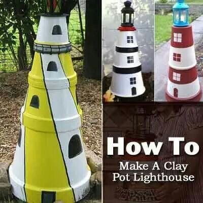 Flower Pot Lighthouse... cute garden idea.
