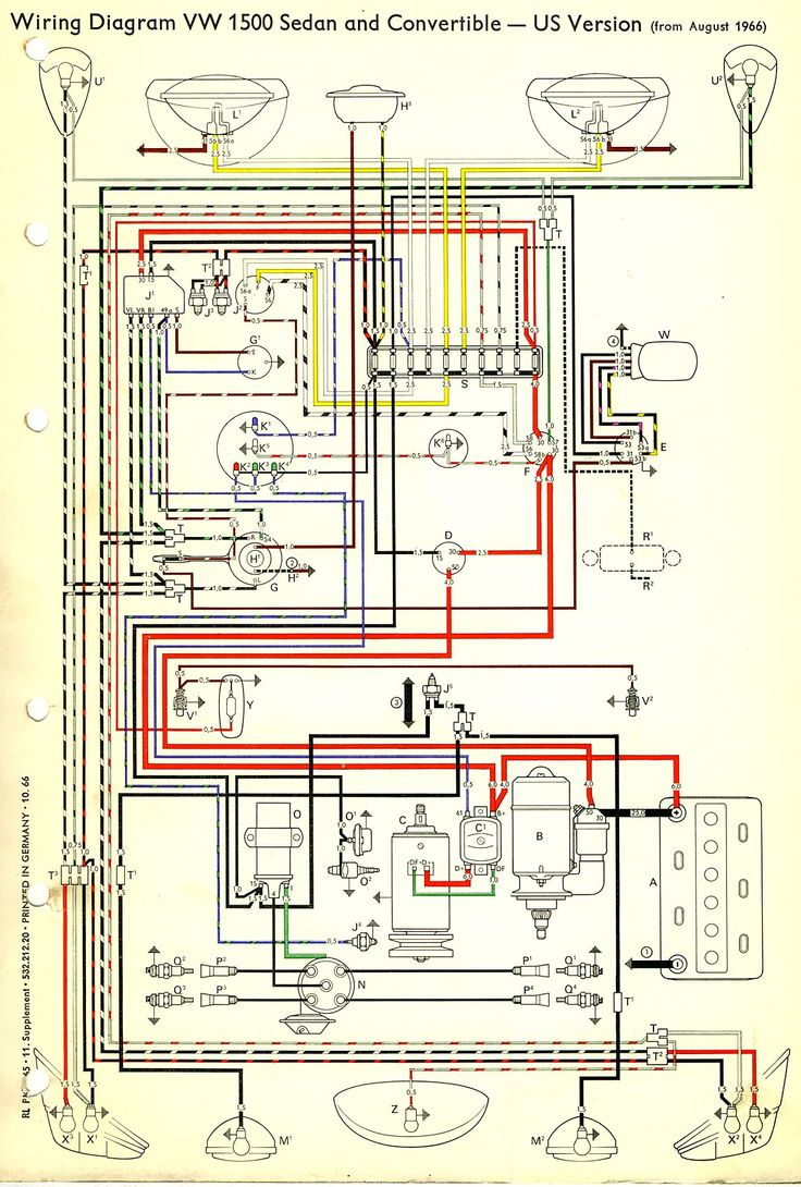 1967 Beetle Wiring Diagram (USA) | TheGoldenBug | best 1967 VW wiring diagram | Vw beetles