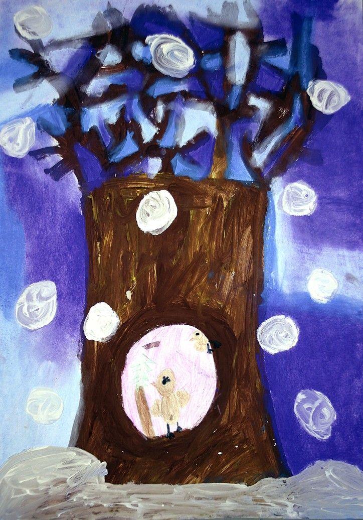 Jak slaví vánoce zvířátka. Tempera, suchý pastel, pastelky. Práce předškoláků našeho výtvarného kroužku.