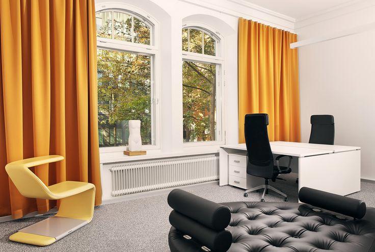Office in Helsinki Area.   Product: Foscusan Alfa acoustic curtains+hidden acoustic solutions