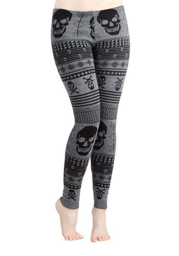 Snuggle after Skull Leggings - Grey, Novelty Print, Casual, Skulls, Better, Low-Rise, Ankle, Grey, Knit, Skinny