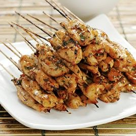 Chipotle Chicken Skewers with Creamy Cilantro Dipping Sauce.