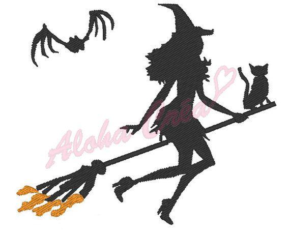 Motif broderie machine sorcière halloween sur son par AlohaCrea