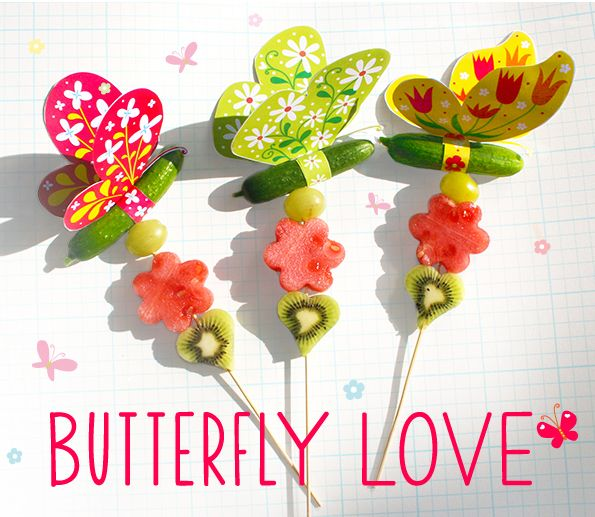 You will need: - Mini cucumbers - Grapes, watermelon, kiwi or any fruit you desire - Sate sticks - Small star heart & flower cookie cutter  - Scissors, glue, and tape Instructions:      Download PDF and print all images.     Fold the butterfly image in half an