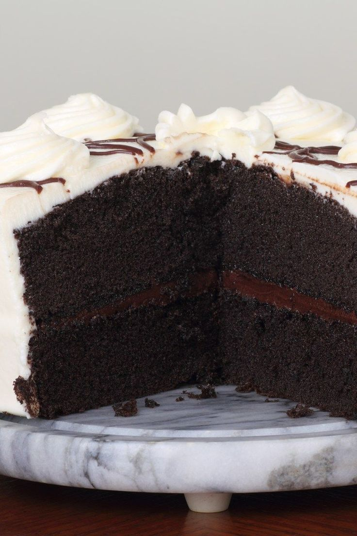 The Only Chocolate Cake Recipe You'll Ever Need! (Devil's Food) - Moist, rich chocolate cake with creamy vanilla frosting.