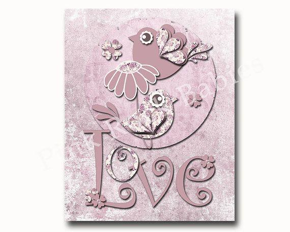 Nursery art print baby girl wall decor old paper by PinkRockBabies