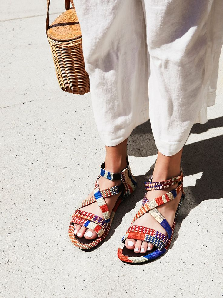 Woven Sandal | Made by artisans in Ghana, these handcrafted sandals feature a multi-color woven look and a comfortable design for easy, all day wear. * Elastic bands for a flexible fit * Side zipper closure