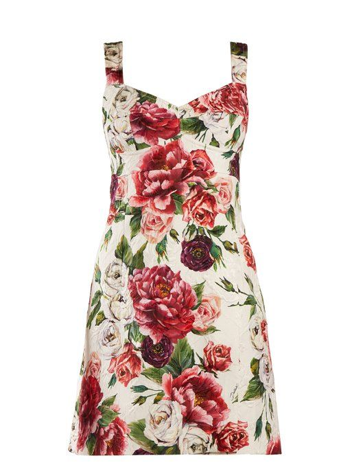 65cc87c100 Dolce   Gabbana Peony and rose-print brocade mini dress