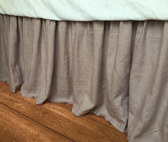natural linen bedskirt in Orchid, medium weight linen fabric, bed ruffles, linen dust ruffles, bed skirts, shabby chic bedding