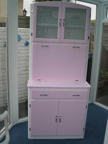 vintage 50s 60s kitchen larder cabinet pink totally stripped and