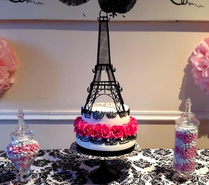 Paris Theme Sweet 16 Cake
