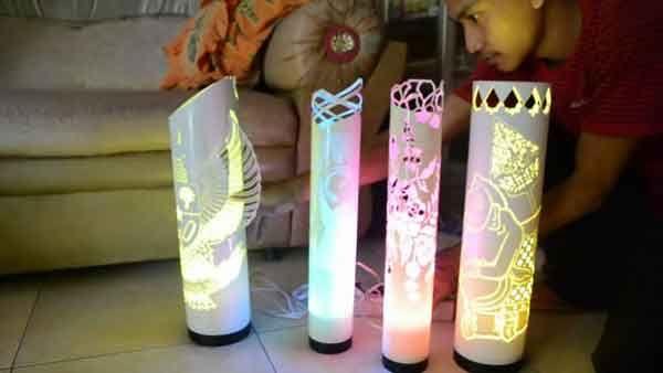 Sungguh Kreatif, Manfaatkan Pipa Bekas Untuk Lampu Hias