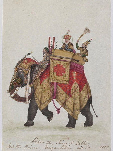 """kbar II On An Elephant Artist unknown c.1827 Delhi, India Watercolor on paper """"This Company Painting depicts Akbar I..."""