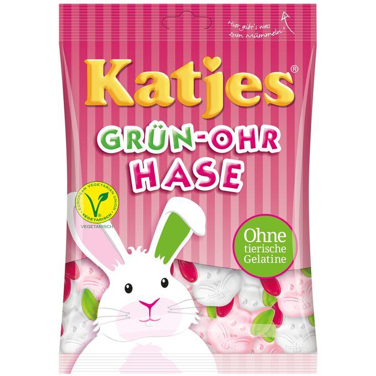 Soyez végétarien - avec les Katjes Grün-Ohr Hase ( Oreilles vertes de Lapin ) ! Cette délicatesse faite par Katjes sont sans gélatine animal et offre la garantie d'un plaisir 100% végétarien et sans gluten. Savourez ces délicieuses têtes de lapin en mousse souple avec cerise et arôme de framboise avec des oreilles de gelée rouge et vert aux goût de fraise et d'arôme de cassis.
