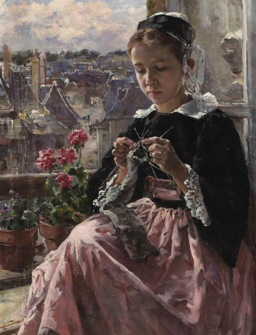 catonhottinroof:  Marie Aimee Lucas-Robiquet  A young Breton girl knitting by a window