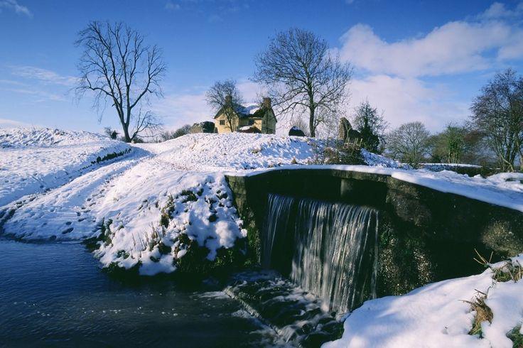 Stogursey Castle, Somerset, snow covered winter landscape
