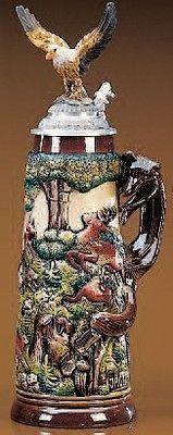 German Beer Stein Eagle Hunting Stein