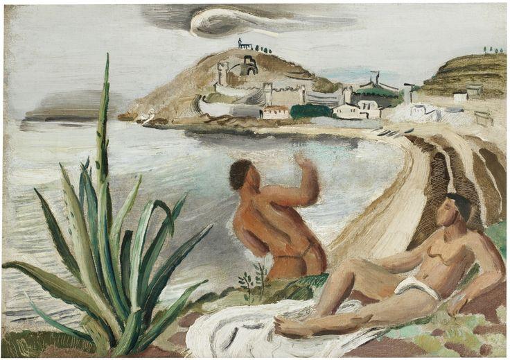"thunderstruck9: "" Christopher Wood (British, 1901-1930), Boys and Coastal Scene, c.1925. Oil on canvas, 27.5 x 37.5 cm. """