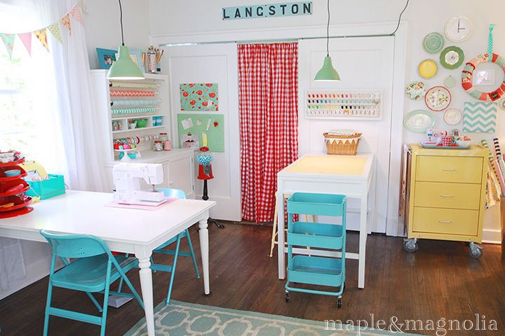 maple and magnolia sewing room. I have the blue chair, I NEED those yellow and blue carts!