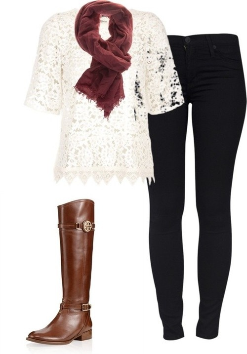 white lace shirt, with brown scarf, brown boots, and guess jeans: Lace Tops, Style, Tory Burch, Fall Outfits, Riding Boots, Fall Fashion, Brown Boots, Lace Shirts, Black Jeans