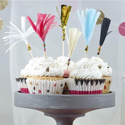 Quasten Cupcake Topper – Confetti Party Serie