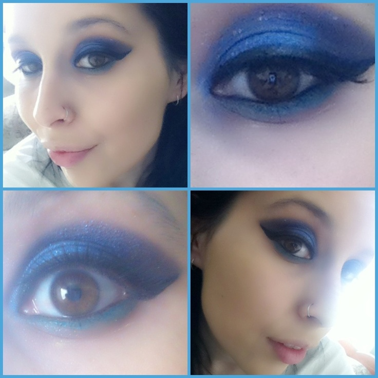 Eyes today !  just mixed blue and purple with the remaining sliver glitter I have :)