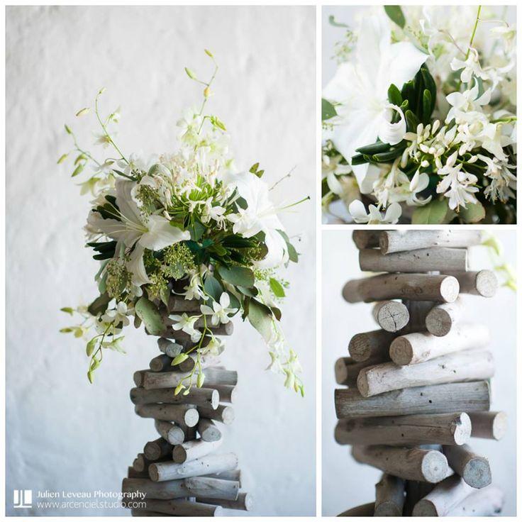 Centro de mesa rustico en tonos blancos ideal para boda en for Centro de mesa rustico